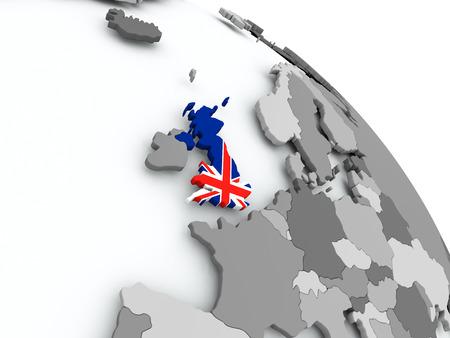 United Kingdom on globe with flag. 3D illustration.
