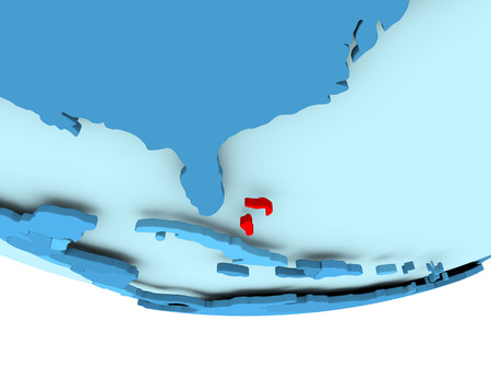 Illustration of Bahamas highlighted in red on blue globe. 3D illustration. Stock Photo