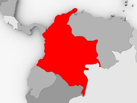 Colombia in red on grey political map. 3D illustration.