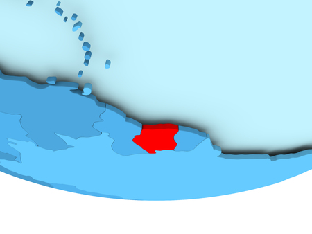 Illustration of Suriname highlighted in red on blue globe. 3D illustration.