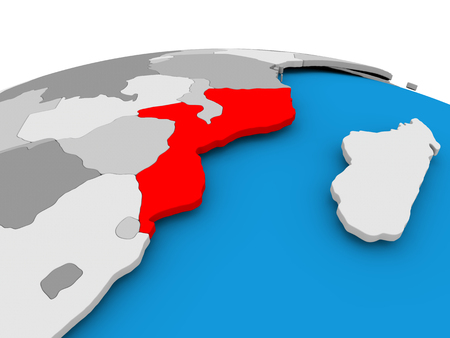 Mozambique highlighted in red on political globe. 3D illustration.