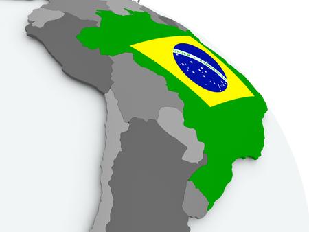 Brazil on globe with flag. 3D illustration. Фото со стока