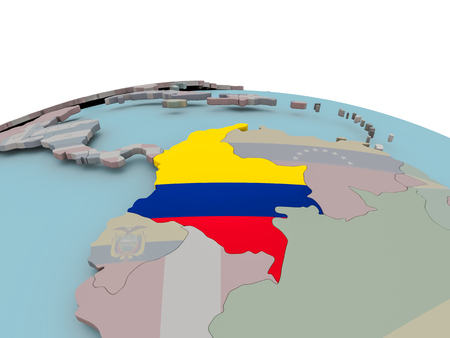 Colombia with national flag on political globe. 3D illustration.