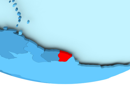guiana: Illustration of French Guiana highlighted in red on blue globe. 3D illustration. Stock Photo