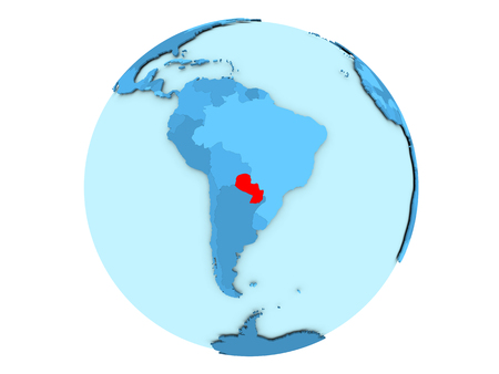 Paraguay highlighted in red on blue political globe. 3D illustration isolated on white background.