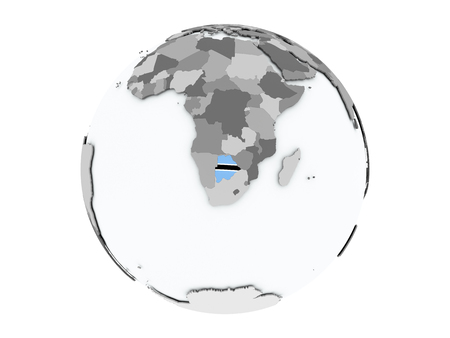 embedded: Botswana on political globe with embedded flags. 3D illustration isolated on white background. Stock Photo