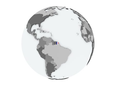 French Guiana on political globe with embedded flags. 3D illustration isolated on white background.