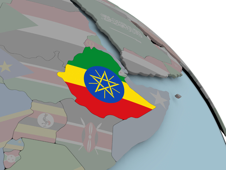 national flag ethiopia: Illustration of Ethiopia on political globe with embedded flags. 3D illustration.