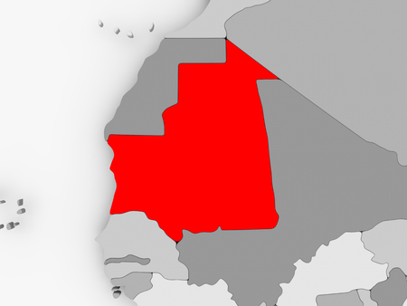 Mauritania in red on grey political map. 3D illustration.