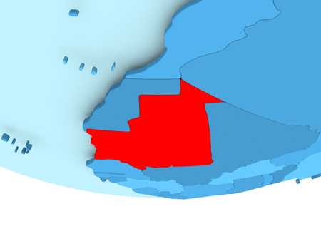Illustration of Mauritania highlighted in red on blue globe. 3D illustration. Stock Photo