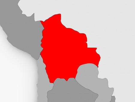 Bolivia in red on grey political map. 3D illustration. Reklamní fotografie