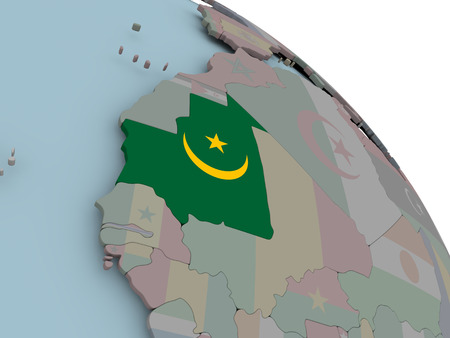 Illustration of Mauritania on political globe with embedded flags. 3D illustration.