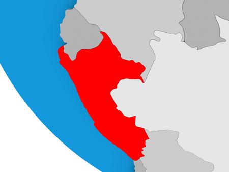 Mapa de Perú en rojo en el mundo político. Ilustración 3D. Foto de archivo
