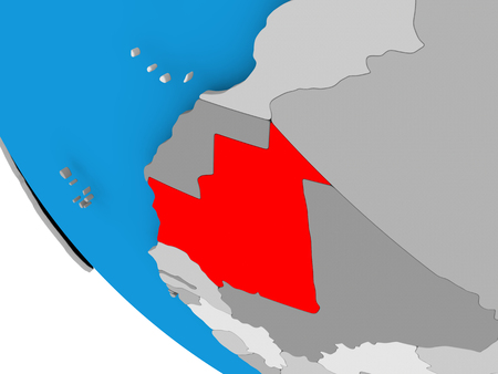 Map of Mauritania in red on political globe. 3D illustration. Stock Photo
