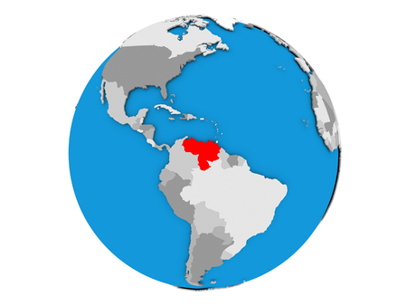 Venezuela highlighted in red on political globe. 3D illustration isolated on white background. Stock Photo
