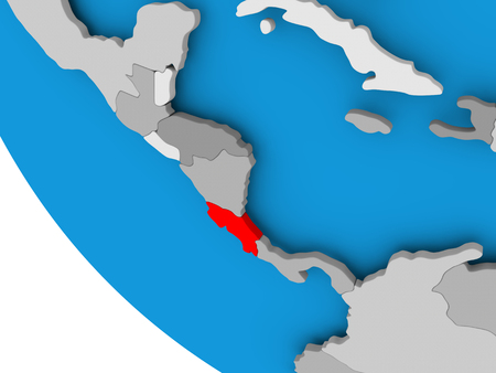 Map of Costa Rica in red on political globe. 3D illustration.