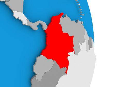 Colombia in red on model of political globe. 3D illustration.