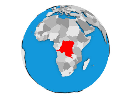 Democratic Republic of Congo highlighted in red on political globe. 3D illustration isolated on white background.