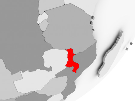 Illustration of Malawi highlighted in red on grey globe. 3D illustration.