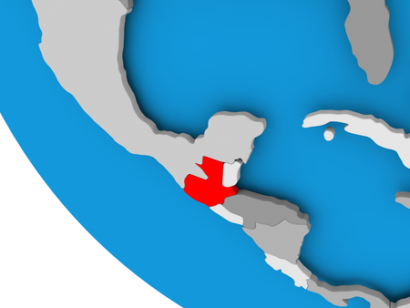 guatemalan: Map of Guatemala in red on political globe. 3D illustration.