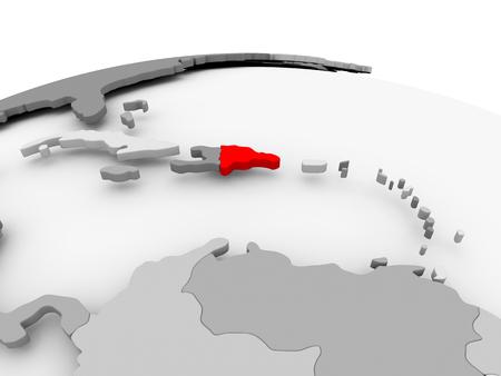 Dominicaanse Republiek in het rood op grijs model van de politieke wereld. 3D illustratie.