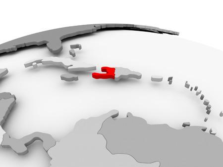 Haiti in red on grey model of political globe. 3D illustration. Stock Photo