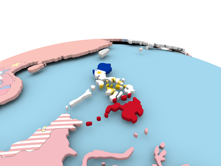 Philippines on political globe with embedded flags. 3D illustration.
