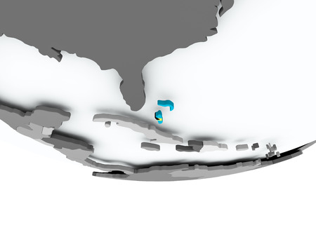 3D render of Bahamas with flag on grey globe. 3D illustration. Stock Photo