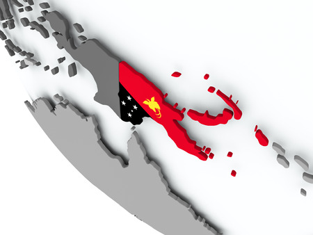 Papua New Guinea on political globe with embedded flags. 3D illustration.