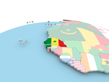 Senegal on political globe with embedded flags. 3D illustration.