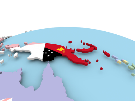 Nuova Guinea: Papua New Guinea on political globe with embedded flags. 3D illustration.