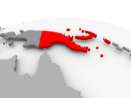 Papua New Guinea in red on grey model of political globe. 3D illustration.