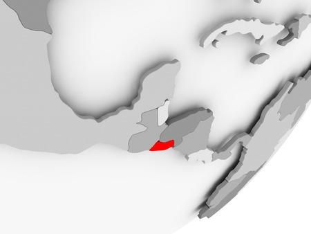 Illustration of El Salvador highlighted in red on grey globe. 3D illustration.