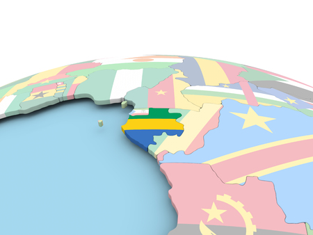 Gabon on political globe with embedded flags. 3D illustration.
