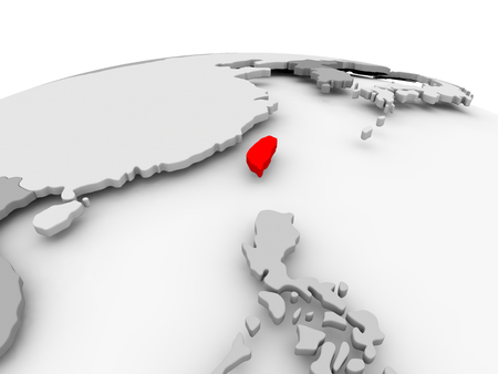 Taiwan in red on grey model of political globe. 3D illustration.
