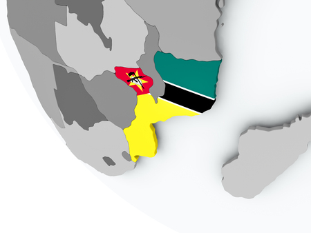 Mozambique on political globe with embedded flags. 3D illustration.
