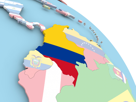 3D render of Colombia with flag on bright globe. 3D illustration.