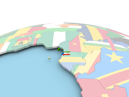 Equatorial Guinea on political globe with embedded flags. 3D illustration.