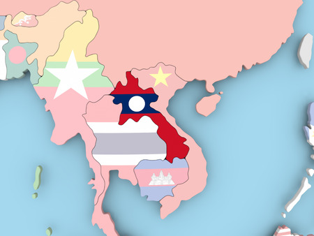 embedded: Mongolia with embedded flag. 3D illustration.