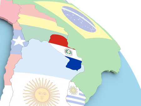 3D render of Paraguay with flag on bright globe. 3D illustration.