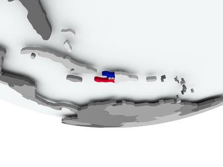 3D render of Haiti with flag on grey globe. 3D illustration. Stock Photo
