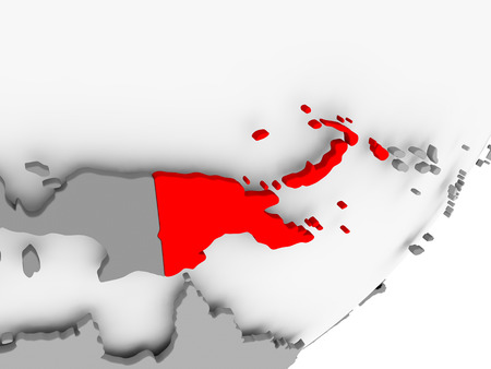 Illustration of Papua New Guinea highlighted in red on grey globe. 3D illustration. Stock Photo