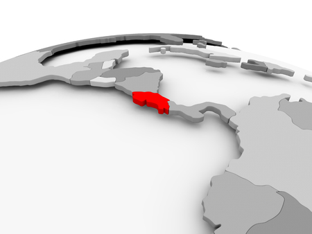 Costa Rica in red on grey model of political globe. 3D illustration. 版權商用圖片 - 89262436