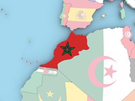 Bolivia with embedded flag. 3D illustration.