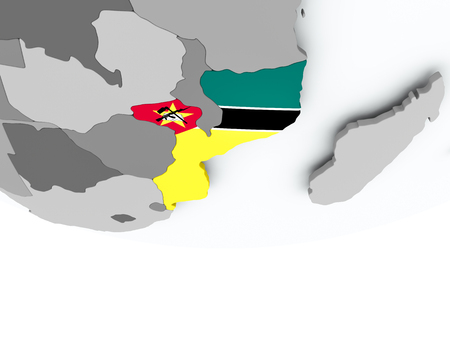 3D render of Mozambique with flag on grey globe. 3D illustration.