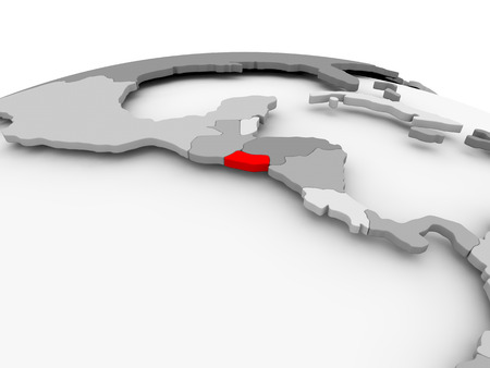 El Salvador in red on grey model of political globe. 3D illustration. Banco de Imagens
