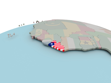 Liberia with national flag on political globe. 3D illustration.