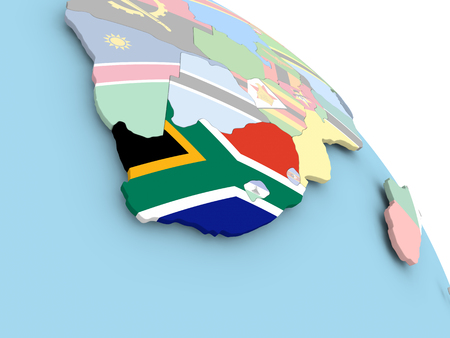 3D render of South Africa with flag on bright globe. 3D illustration.