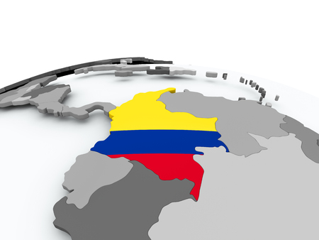 Colombia on grey political globe with embedded flag. 3D illustration.