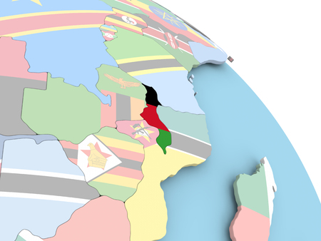 3D render of Malawi with flag on bright globe. 3D illustration.